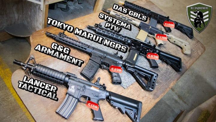 AEG Range & Grouping Testing - DAS GBLS vs Systema PTW vs Tokyo Marui NGRS vs G&G Armament vs Lancer Tactical YT Thumbnail